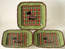 222 Fifth Christmas Scotty Scottish Terrier Dog Argyle Appetizer Plate Set of 3