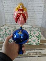 Inge Glas Angel Pink Tree Topper Large Glass Blue Old World Xmas Ornament RARE