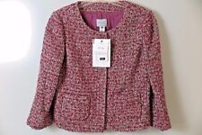 NWT Adec2 by Philippe Adec Red Boucle Wool Blend Jacket Size 14