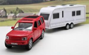 Personalised Plates Boys Kids Toy Dad Model Diecast Red 4x4 Car & Caravan Boxed