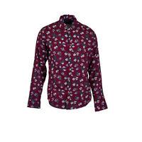 Michael Kors Men's Slim Fit Button Front Floral Shirt Raspberry Size XL
