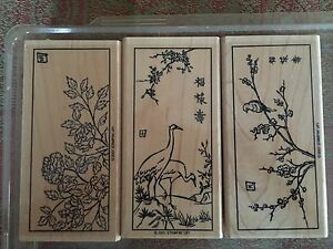 Stampin' Up ORIENTAL PAINTINGS Set of 3 Stamps 2001 Sakura Cherry Blossom Stork