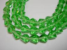 25 Emerald Green Czech Glass Faceted Bell Teardrop Beads 9x7mm