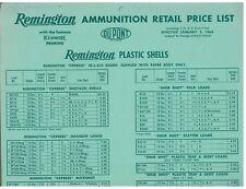 1964 Retail Price List for Remington Ammunition