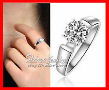 Simulated Diamond Solitaire White Gold Filled Fashion Rings