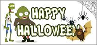 Halloween Party Banner Poster Zombies Happy Halloween Decorations Pack of 2
