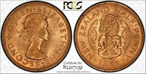 1962 New Zealand Half Penny PCGS MS64 (Red) Rare Only 7 Graded Higher