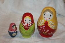 Russian Porcelain Nesting Dolls Measuring Cups, 3 Dolls 6 cups