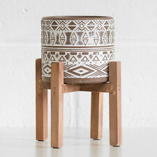 Small 24cm Indoor Plant Pot Stand Brown Tribal Cement 12cm Pot Holder Planter