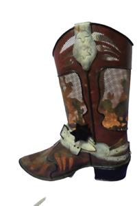 "Primitive Tin Cowboy Boot Electric Night Light Electric Cord W/Bulb 10""Tall"