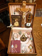 Religious Lot  Antique Box Memorial Altar Prayer Book Water Font Catholic Rosary