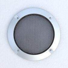 "2pcs New 4"" inch Silver Audio Speaker Cover Decorative Circle Metal Mesh"