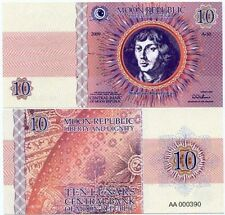 MOON REPUBLIC 10 LUNARS NIKOLAUS KOPERNIKUS 2009 LIBERTY DIGNITY Fantasy Banknot