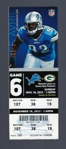 2012 NFL GREEN BAY PACKERS @ DETROIT LIONS FULL unused FOOTBALL TICKET