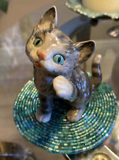 Vintage Goebel Porcelain Grey Tabby Cat Kitten Figurine W. Germany 4.25�x3.25�