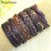 PotaMalat 6pcs Mens Leather Bracelet Wristband Surfer Tribal Brown Gift-D49