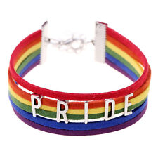 Flag Rainbow Gay Lesbian LGBT Bangle Charm Initial PRIDE Bracelet For Coup giyt