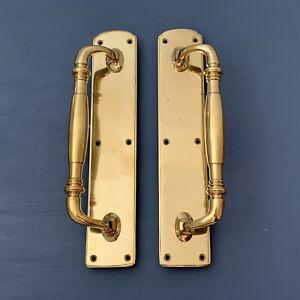 BRASS DOOR PULL HANDLES (PAIRS) PLATES KNOBS GRAB HEAVY RAIL EDWARDIAN VICTORIAN