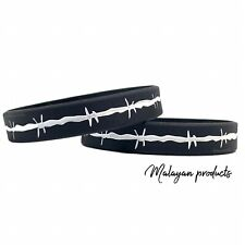 2 PACK Barbed Wire Wristbands Thin Gray Silver Line Bracelet Corrections Officer