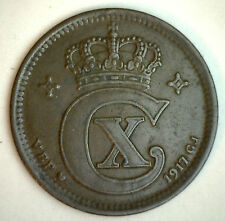 1917 Bronze Denmark 5 Ore Coin Currency XF