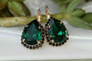 8.00Ct Pear Cut Green Emerald Diamond Lever Back Earrings 14K Rose Gold Finish