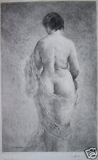 GASTON GERARD 1859-? GRAVURE EROTISME FEMME NUE EROTIQUE L'ECHARPE b