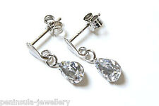 9ct White Gold CZ Drop Earrings Gift Boxed Made in UK