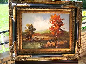 Landschaftsbild gemalt in Spachteltechnik - Bäume, Berge, Weiher, Wiesen