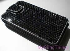BLACK Crystal Rhinestone iFlip Wallet Case for iPhone 5 5S w/ Swarovski Elements