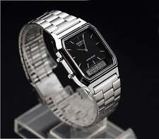 AQ-230A-1D Black Casio Watch Vintage Analog Digital Stainless Steel Band New