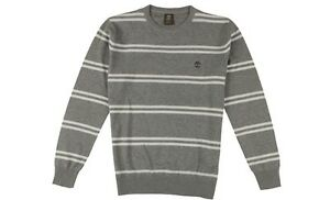 3752J Timberland Men's Long Sleeve Striped Waffle Crew Neck Shirt Gray Size S-XL