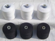 6 Spools Polyester Sewing White & Black Strong Thread 1000 Yards Each