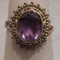 Vintage Antique Estate~4.73cts Amethyst 925 Sterling Silver Filigree Ring Sz 7