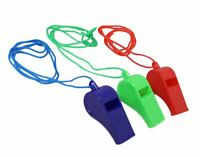 3 X PLASTIC COLOUR SPORTS WHISTLE FOOTBALL RUGBY REFEREE PLASTIC NECK WRIST CORD