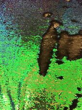 Hologram Green Matte Black 2 Tone Reversible Mermaid Sequin Spandex Fabric - BTY