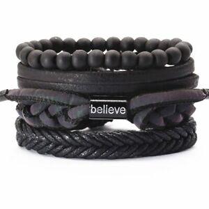 4pcs/set Vintage Beads Charm Bracelets Geometric Faux Leather Bracelet Men's Fas