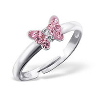 Childrens Girls 925 Sterling Silver Pink Crystal Butterfly Ring Adjustable Boxed
