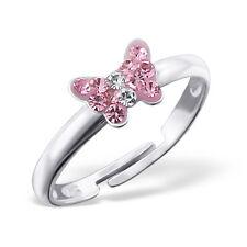 bébés filles 925 argent sterling rose cristal papillon bague réglable en boîte