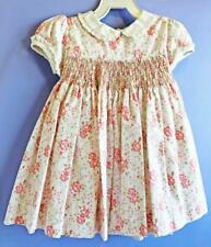 Jillian's Closet Boutique Dress Hand Smocked Size 9 month Baby Girl Pink Flowers