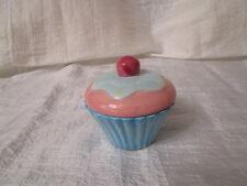 Nostalgische Cup Cake Teelichthalter Keramik Hellblau Rosa