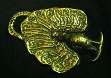 Rare FREESTANDING PEACOCK IN RELIEF Horse Harness Brass England WOW YOUR WALLS!!