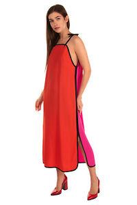 RRP €900 VICTORIA VICTORIA BECKHAM Crepe Trapeze Dress Size 10 / M Contrast Silk