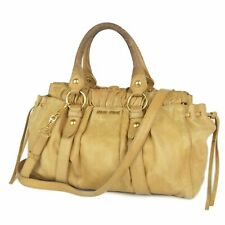 Auth MIU MIU Logos Leather 2WAY Shoulder Hand Bag Italy F/S 7203b