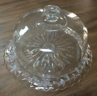 Vintage Etched Glass Pedestal Cake Stand With Dome Cover and Grapes