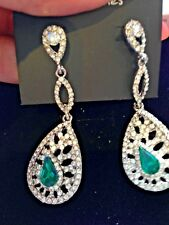 DROP CLEAR  GREEN VINTAGE STYLE CLEAR CRYSTAL PIERCED EARRINGS 4CM LONG