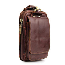 Mens Belt Pouch Wallet Genuine Leather Cell Phone Holster Fanny Waist Bag Pack