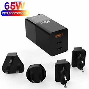 GaN 65W 3-Port Quick PD Charger with Foldable Travel Adapter Plus 5A 100W Cable