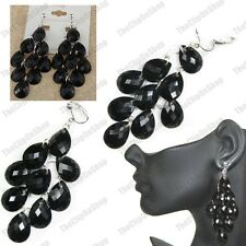 "CLIP ON 3.5""long FACETED JET BLACK BEAD silver fashion EARRINGS chandelier"
