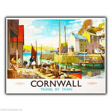 Cornwall in treno vintage con pubblicità in metallo Insegna Placca Parete stampa poster art