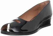 ROBERT CLERGERIE RUSSY PEEP TOE WEDGE SHOES BLACK PATENT LEATHER SANDAL 7.5 $595